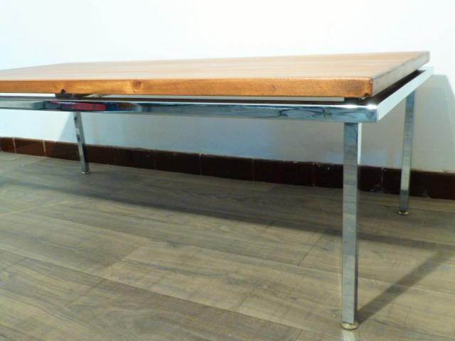 grande table basse pietement metal chrome circa 1970. Black Bedroom Furniture Sets. Home Design Ideas