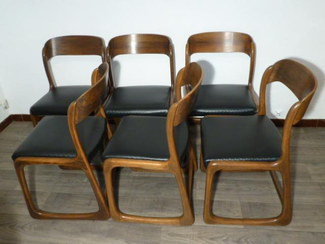 6 chaises baumann modele traineau 1965. Black Bedroom Furniture Sets. Home Design Ideas