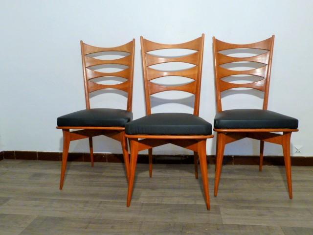 6 chaises scandinaves en bois 1960 for 6 chaises scandinaves