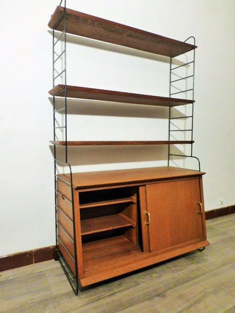 rare bibliotheque string avec caisson nisse strinning 1960. Black Bedroom Furniture Sets. Home Design Ideas