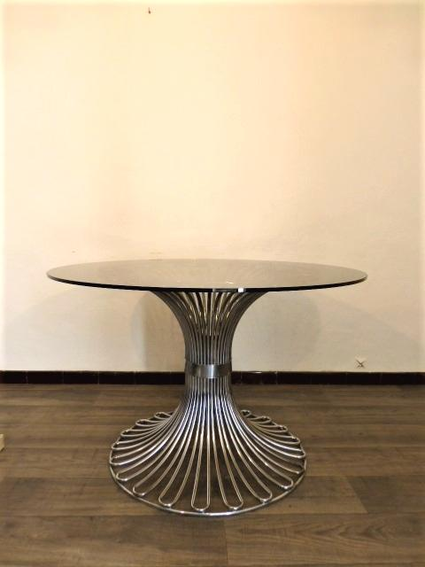 TABLE A MANGER RONDE VERRE ET CHROME. GASTONE RINALDI 1970