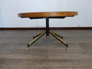TABLE BASSE RONDE EN MARQUETERIE 1930 / 1960