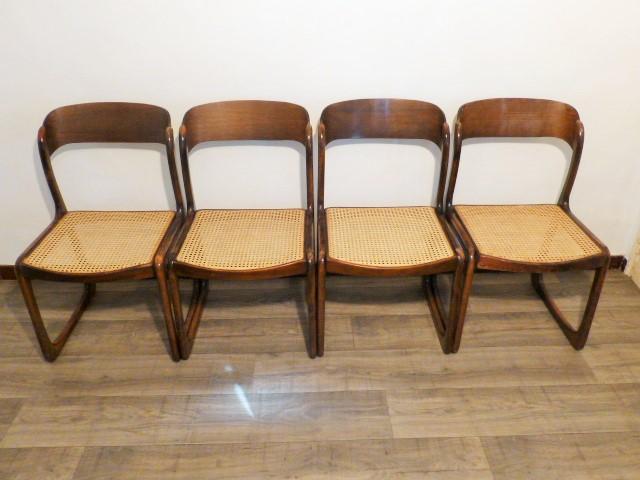 4 chaises baumann traineau cannee 1960. Black Bedroom Furniture Sets. Home Design Ideas
