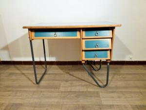 BUREAU VINTAGE PIETEMENT METALIQUE JACQUES HITIER. 1950