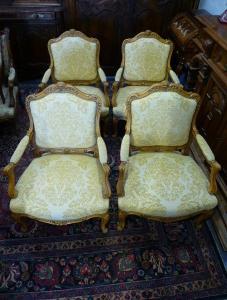 RARE LOT DE 4 FAUTEUILS LOUIS XV. DEBUT 20EME.